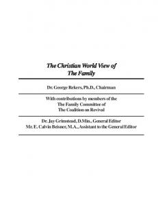 The Christian World View of The Family