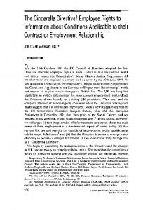 The Cinderella Directive? Employee Rights to Information about Conditions Applicable to their Contract or Employment Relationship