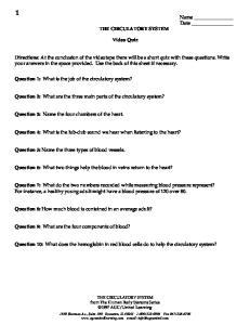 THE CIRCULATORY SYSTEM. Video Quiz
