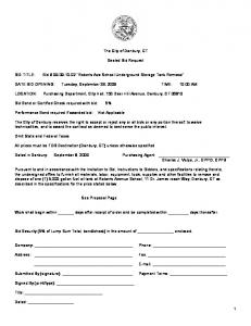 The City of Danbury, CT. Sealed Bid Request. DATE BID OPENING: Tuesday, September 29, 2009 TIME: 10:00 AM