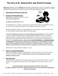 The City of St. Helens Park Use Permit Process