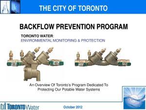 THE CITY OF TORONTO BACKFLOW PREVENTION PROGRAM