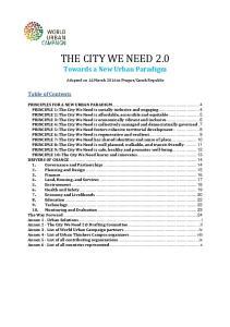 THE CITY WE NEED 2.0 Towards a New Urban Paradigm