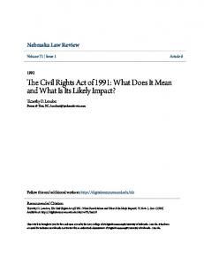 The Civil Rights Act of 1991: What Does It Mean and What Is Its Likely Impact?