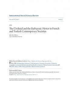 The Civilized and the Barbarous: Honor in French and Turkish Contemporary Societies