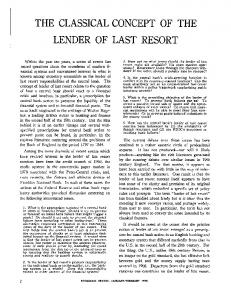 THE CLASSICAL CONCEPT OF THE LENDER OF LAST RESORT