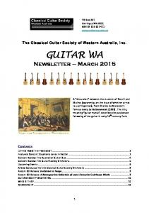 The Classical Guitar Society of Western Australia, Inc. GUITAR WA. Newsletter March 2015