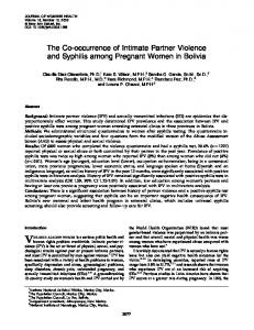 The Co-occurrence of Intimate Partner Violence and Syphilis among Pregnant Women in Bolivia