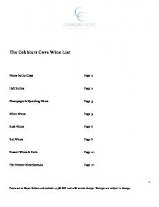 The Cobblers Cove Wine List