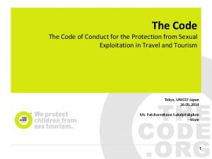 The Code The Code of Conduct for the Protection from Sexual Exploitation in Travel and Tourism