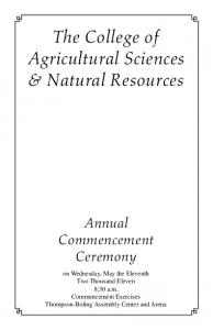 The College of Agricultural Sciences & Natural Resources