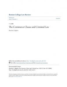 The Commerce Clause and Criminal Law