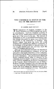 THE COMMERCE OF BOSTON ON THE EVE OF THE REVOLUTION