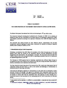 THE COMMITTEE OF EUROPEAN SECURITIES REGULATORS