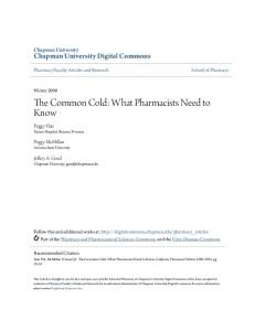 The Common Cold: What Pharmacists Need to Know