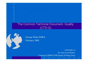 The Common Technical Document- Quality (CTD-Q)
