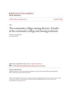 The community college nursing director: A leader in the community college and nursing profession