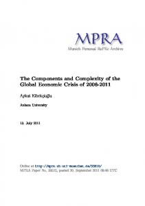 The Components and Complexity of the Global Economic Crisis of