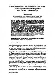 The Composite Discrete Logarithm and Secure Authentication