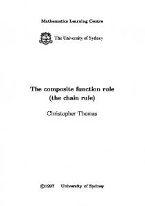 The composite function rule (the chain rule)
