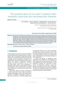 The concentration of uric acid in patients with metabolic syndrome and cardiovascular diseases