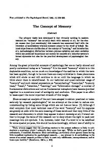 The Concept of Memory
