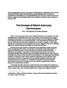 The Concept of Patient Autonomy