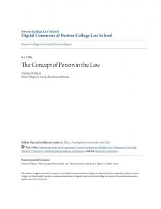 The Concept of Person in the Law