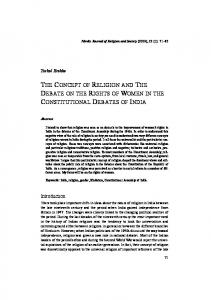 THE CONCEPT OF RELIGION AND THE DEBATE ON THE RIGHTS OF WOMEN IN THE CONSTITUTIONAL DEBATES OF INDIA