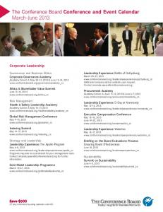 The Conference Board Conference and Event Calendar March June 2013