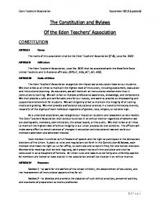 The Constitution and Bylaws Of the Eden Teachers Association