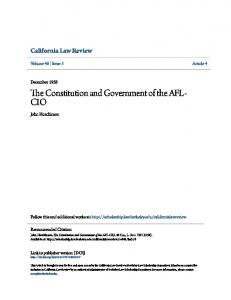 The Constitution and Government of the AFL- CIO