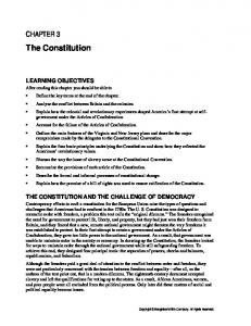 THE CONSTITUTION AND THE CHALLENGE OF DEMOCRACY