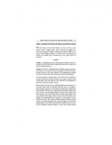 THE CONSTITUTION OF THE UNITED STATES 23 THE CONSTITUTION OF THE UNITED STATES