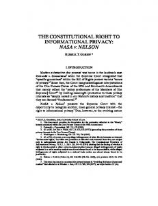 THE CONSTITUTIONAL RIGHT TO INFORMATIONAL PRIVACY: NASA V. NELSON