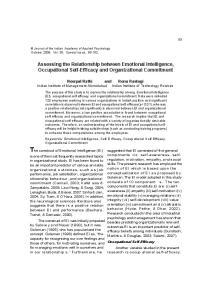 The construct of Emotional Intelligence (EI)