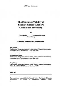 The Construct Validity of Schein's Career Anchors Orientation Inventory