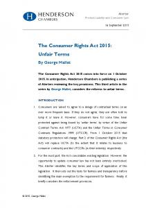 The Consumer Rights Act 2015: Unfair Terms