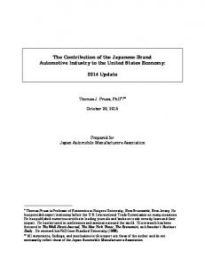 The Contribution of the Japanese-Brand Automotive Industry to the United States Economy: 2014 Update