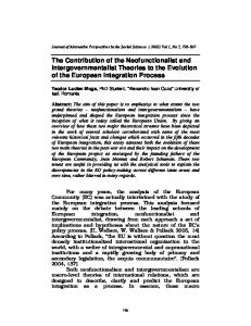 The Contribution of the Neofunctionalist and Intergovernmentalist Theories to the Evolution of the European Integration Process