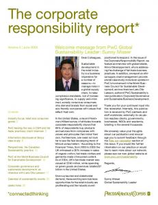 The corporate responsibility report*