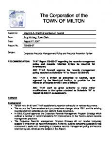 The Corporation of the TOWN OF MILTON