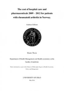 The cost of hospital care and pharmaceuticals for patients with rheumatoid arthritis in Norway