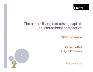 The cost of listing and raising capital: an international perspective