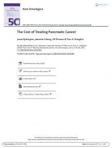 The Cost of Treating Pancreatic Cancer