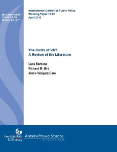 The Costs of VAT: A Review of the Literature