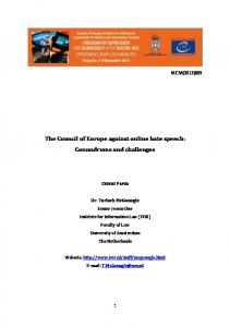 The Council of Europe against online hate speech: Conundrums and challenges