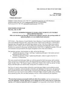 THE COUNCIL OF THE CITY OF NEW YORK. 250 Broadway New York, NY **PRESS RELEASE**