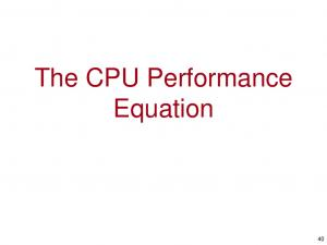 The CPU Performance Equation