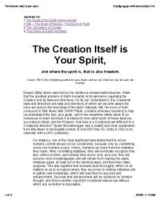 The Creation itself is your spirit